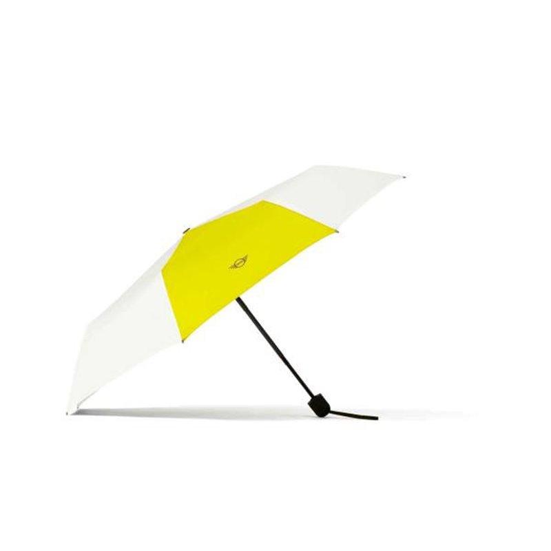 Parapluie MINI pliable avec couleur contraste (Blanc / Jaune)