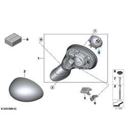 Mécanisme de rétroviseurs ext. (côté au choix) MINI F54, F55, F6, F57, F60
